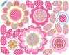 Pink Multicolor Flower Power Wall Decals with Leaves and Stems - Wall Dressed Up - 2