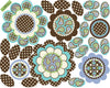 Turquoise/ Brown Flower Power Wall Decals with Leaves and Stems - Wall Dressed Up