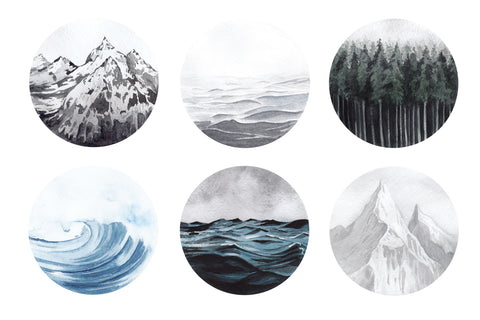"Forest Ocean Mountains Watercolor Art Decals Six 12"" Round Fabric Wall Stickers - Wall Dressed Up"