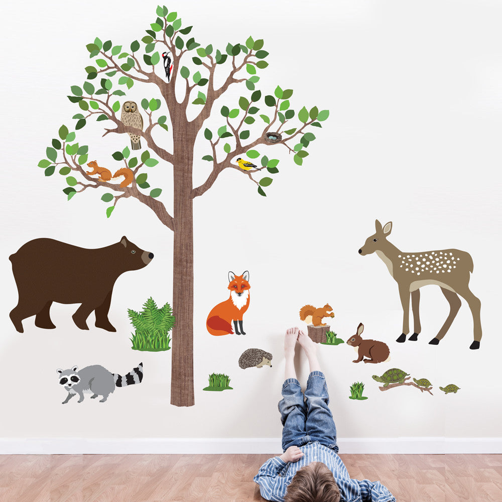 Large Woodland Animals With Tree Wall Decals