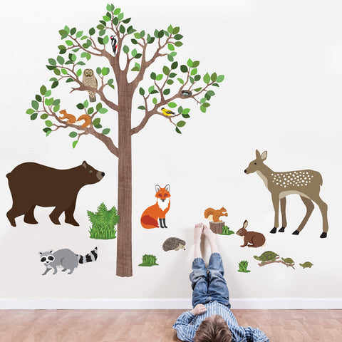 Large Woodland Animals with Tree Wall Decals, Removable Eco-Friendly Wall Stickers - Wall Dressed Up
