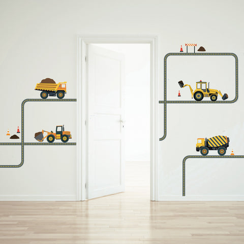 Four Construction Vehicle Wall Decals with Curved and Straight Gray Road - Wall Dressed Up - 1