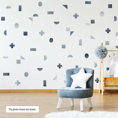 Watercolor Geometric Decals, Gray Blue Geometric Wall Decals, Peel and Stick Shapes Not Wallpaper - Wall Dressed Up