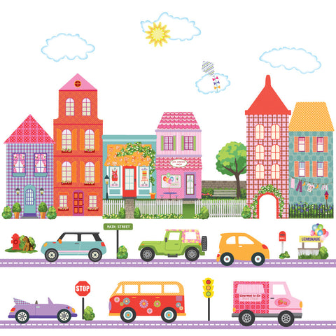 Girl's Dollhouse Town and Adventure Cars Wall Decals plus Purple Straight Road