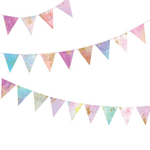 Bunting Flag Wall Decals, Watercolor and Gold Fabric Eco-Friendly Decals