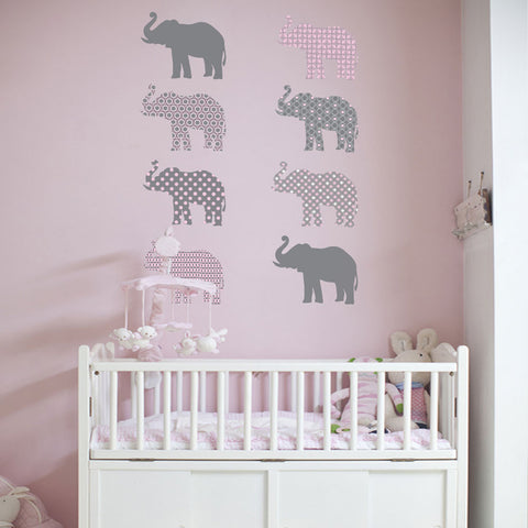 Eight Patterned Gray and Baby Pink Elephant Wall Decals, Eco-Friendly and Reusable Decals - Wall Dressed Up