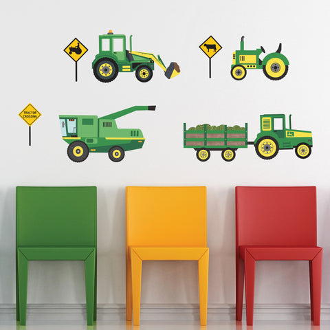 Green Tractors and Farm Truck Vehicles, Tractor Wall Stickers Eco-friendly Wall Stickers