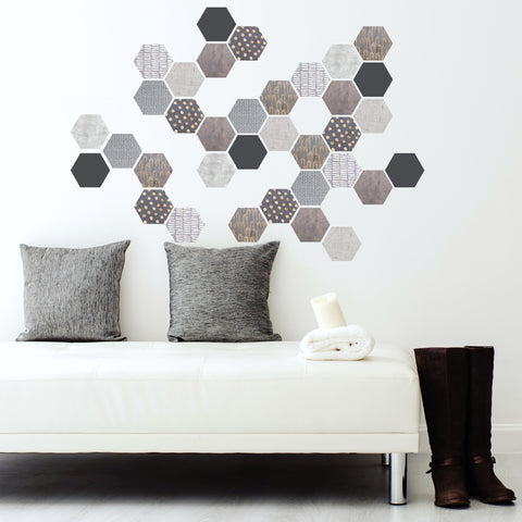 Hexagon Wall Decals 36 Mod Textured Hexagon Decals Honeycomb Wall Stickers - Wall Dressed & Wall Dressed Up Wall Decals Fabric Wall Decal Stickers Peel and Stick