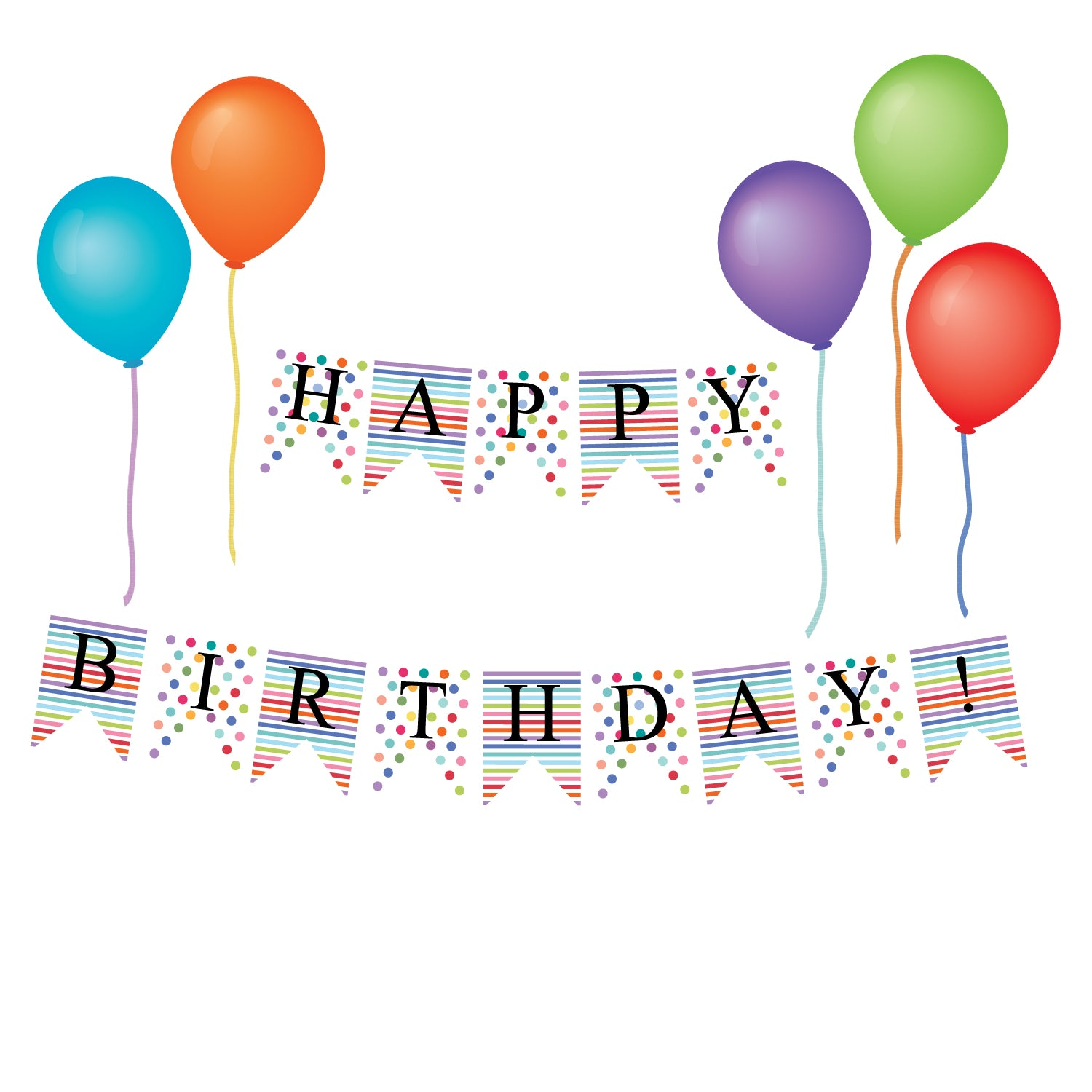 Happy Birthday Bunting Flags And Balloon Wall Decals Eco Friendly Par