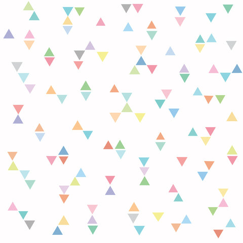 96 Mini Rainbow Pastel Triangle Wall Decals, Eco-Friendly Wall Stickers
