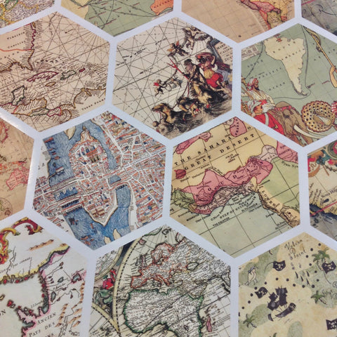 32 hexagon map wall decals peel and stick vintage world map wall stic 32 hexagon map wall decals peel and stick vintage world map wall stickers gumiabroncs Images