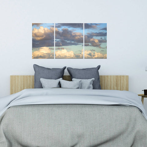 Sky with Clouds Tryptic Photograph Wall Decals, Matte Removable and Repositionable