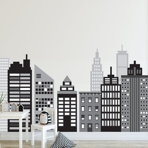 Large Cityscape Wall Decals, Black and White City Skyline Wall Decals, Cityscape Wall Stickers