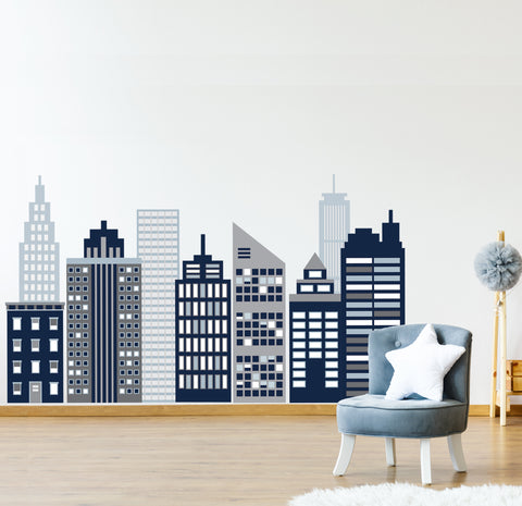 Large Navy Cityscape Wall Decals, City Skyline Wall Decals, Cityscape Wall Stickers - Wall Dressed Up