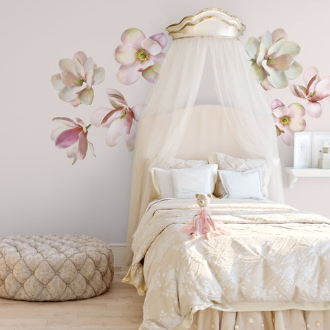 Large Magnolia Decals Flower Wall Decals, Eco-Friendly, Flower Wall Stickers