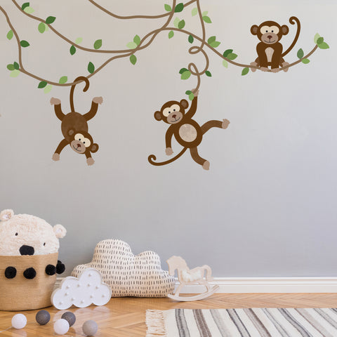 Large Monkey Wall Decals, Jungle Monkey Wall Stickers, Nursery Wall Decals, Repositionable Fabric Decals