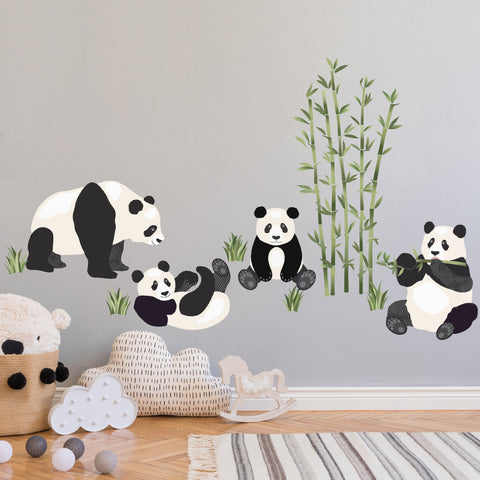 Large Panda Decals and Bamboo Decals, Panda Bear Decals, Animal Wall Decals, Eco Friendly Removable and Reusable Wall Stickers - Wall Dressed Up