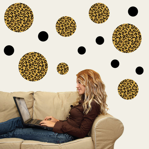 Leopard Print Dot Wall Decals, Eco-Friendly Matte Fabric Wall Stickers - Wall Dressed Up