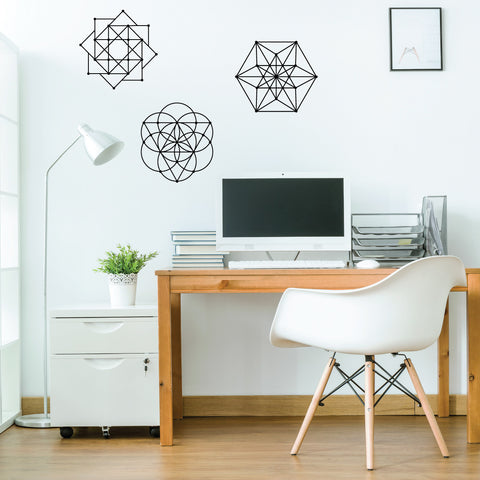 Sacred Geometry 3 Wall Decals Metallic Gold, Silver, Black or White - Wall Dressed Up - 1