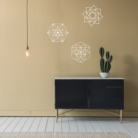 Black And White Wall Decals sacred geometry 3 wall decals metallic gold, silver, black or