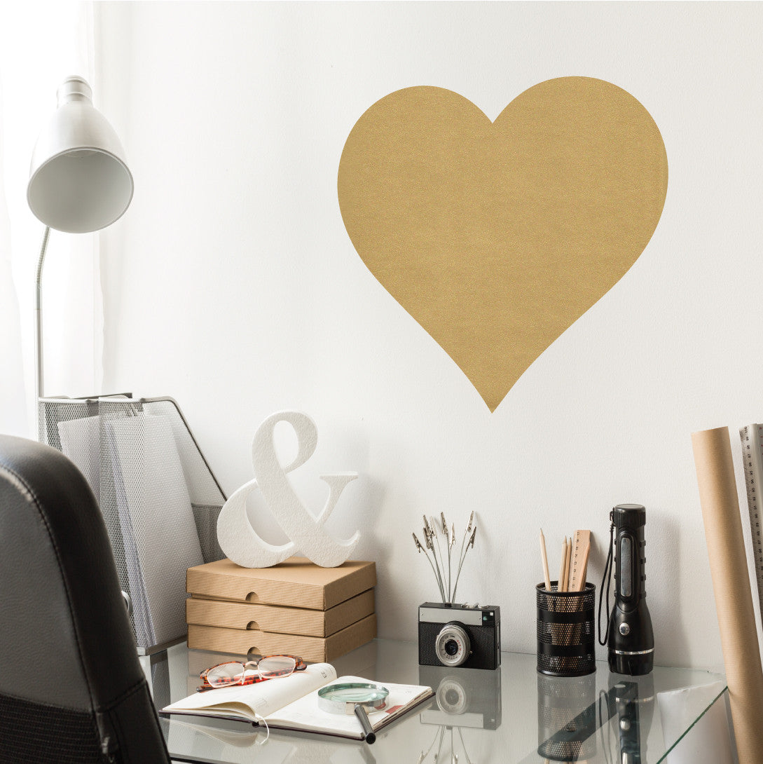 Fantastic Large Metallic Gold Heart Vinyl Wall Decal HV73