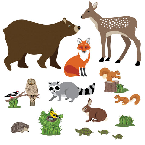 Large Woodland Animal Wall Decals, Eco-Friendly Peel and Stick Fabric Wall Stickers - Wall Dressed Up
