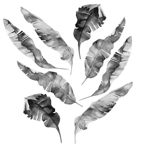 8 Medium Banana Leaves Wall Decals, Black Gray White Tropical Leaf Wall Stickers Matte Tropical Decals - Wall Dressed Up