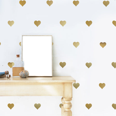 64 Gold or Silver Metallic Heart Vinyl Wall Decals, Heart Wall Stickers - Wall Dressed Up