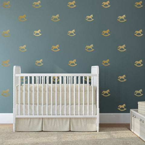 33 Miniature Metallic Gold Rocking Horse Wall Decals - Wall Dressed Up