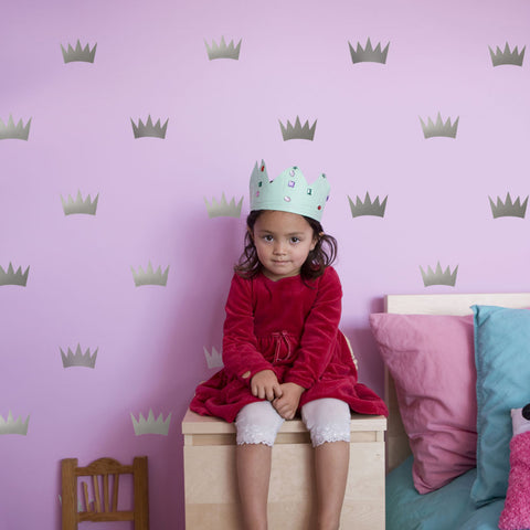 32 Silver Metallic Princess Crown Vinyl Wall Decals - Wall Dressed Up - 1