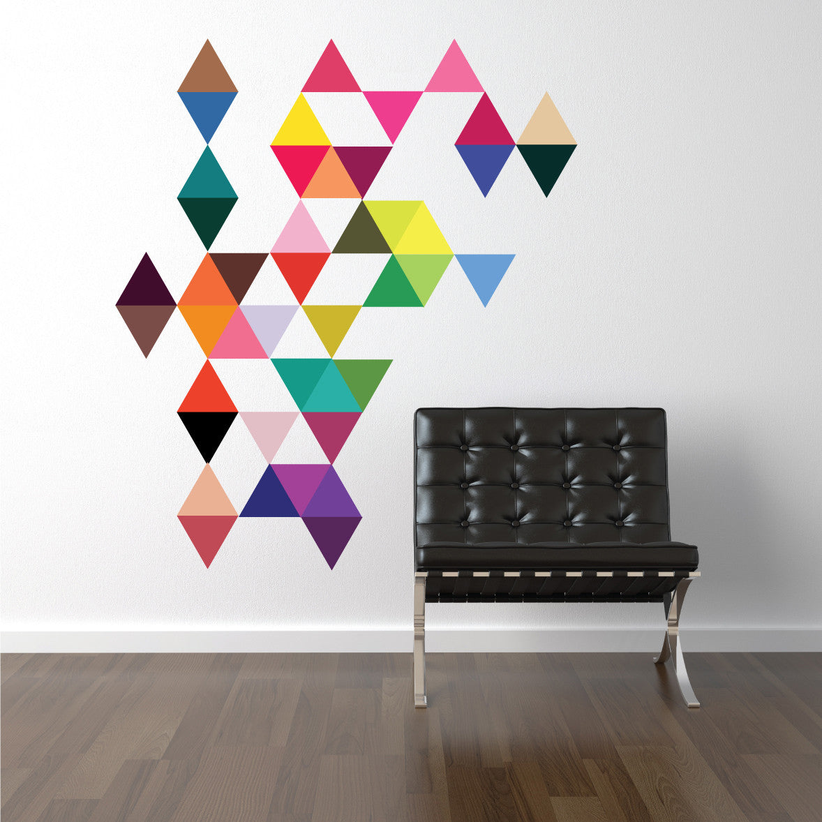 45 mod bright multi color triangle wall decals eco friendly 45 mod multi color triangle wall decals wall dressed up 1 amipublicfo Gallery