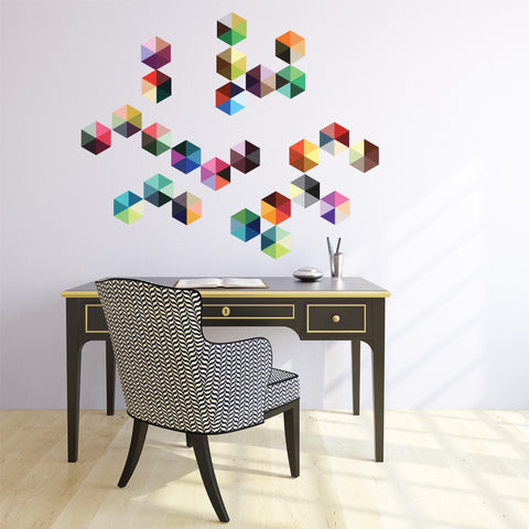 25 Modern Boho Hexagon Wall Decals, Peel and Stick Repositionable Fabric Wall Stickers - Wall Dressed Up