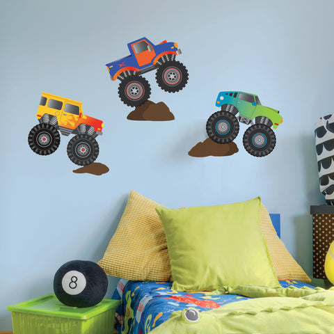 Monster Truck Wall Decals Removable Monster Truck Wall Stickers Kids Bedroom Decor Boys Wall Stickers - Wall Dressed Up