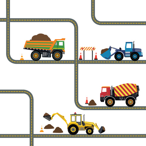 Multicolor Construction Wall Decals Four Construction Vehicles with Straight and Curved Road Decals, Removable Wall Stickers - Wall Dressed Up
