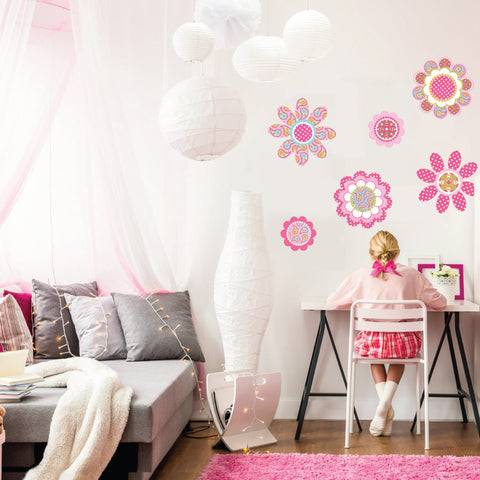 Pink Multicolor Flower Power Wall Decals - Wall Dressed Up - 1