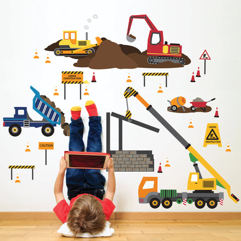 Multicolor Construction Site Wall Decals Construction Truck Decals Peel and Stick Construction Vehicle Wall Stickers - Wall Dressed Up