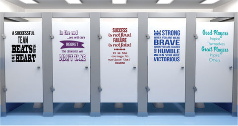 Sports Quotes, School Bathroom Decals, 5 Postive Self Esteem Quotes, Set C - Wall Dressed Up