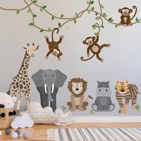 Large Safari Animals and Monkey Wall Decals, Jungle Animal Wall Stickers, Nursery Wall Decals, Peel and Stick Removable and Reusable Fabric Decals