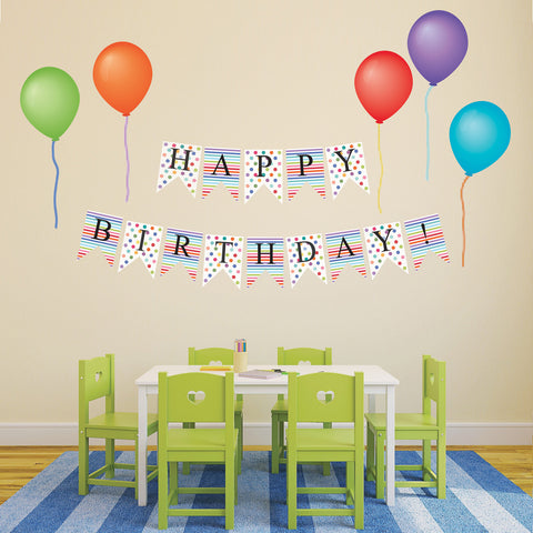 Happy Birthday Bunting Flags and Balloon Wall Decals, Eco-Friendly Party Decor Wall Stickers - Wall Dressed Up