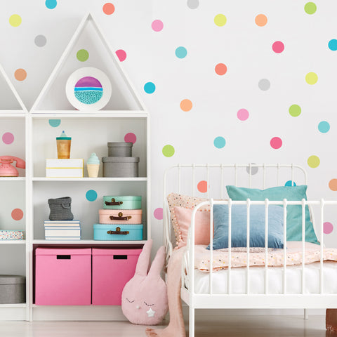"Dot Wall Decals, 4"" Candy Confetti Rainbow Polka Dot Decals, Nursery Wall Decals Eco Friendly Peel and Stick Fabric Dot Decals - Wall Dressed Up"