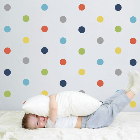 "36 Polka Dot Wall Decals, Navy Orange Gray Yellow Green Blue Reusable Eco-Friendly 4"" Dot Fabric Wall Stickers - Wall Dressed Up - 1"