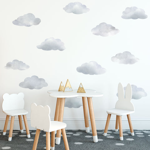 Watercolor Cloud Wall Decals, Cloud Wall Stickers, Nursery Wall Decor, Peel and Stick Removable Eco Friendly Wall Decals - Wall Dressed Up