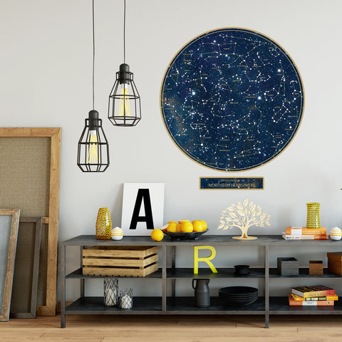 Constellations Wall Decal, Northern Hemisphere Poster Decal, Sky Decal