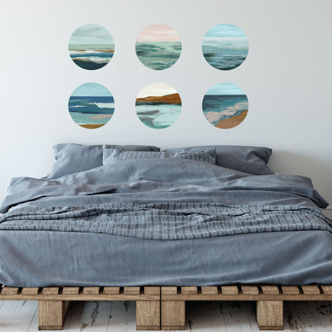 "6 Ocean Painting Circle Beach Wall Decals, 12"" each, Ocean Decals, Coastal Art Fabric Decals, Eco-friendly Repositionable Ocean Artwork"