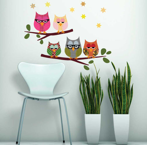 Five Owls on Branch Wall Decals, Eco-Friendly Fabric Wall Stickers - Wall Dressed Up
