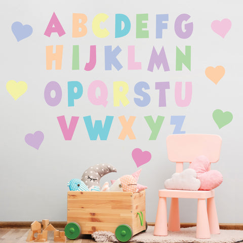 Pastel Rainbow Alphabet Wall Decals, ABC's, Eco Friendly Nursery Decor, ABC Wall Stickers, Kids Room Wall Decals