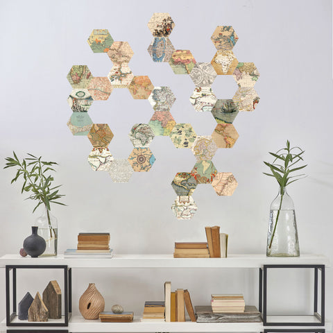32 hexagon map wall decals, peel and stick vintage world map wall stic