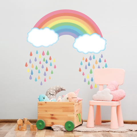 Pastel Rainbow with Raindrops Wall Decals, Rainbow Wall Decal, Nursery Wall Stickers