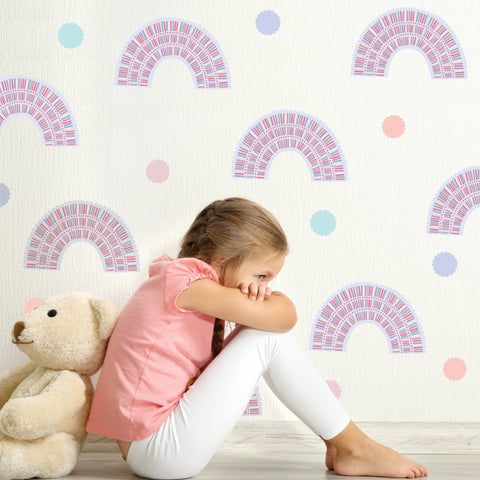 Pastel Rainbow Wall Decals, Nursery Wall Decals, Rainbows, Polka Dot Wall Decals, Peel and Stick Decals Not Wallpaper - Wall Dressed Up