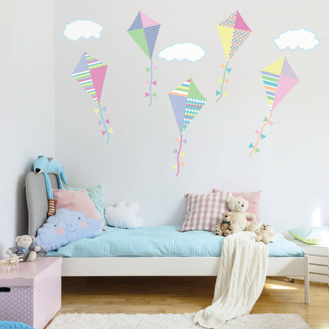 Wall Decals Pastel Kites Fabric Wall Decals with Clouds, Col. 3, Eco Friendly Peel and Stick Reusable Fabric Wall Stickers